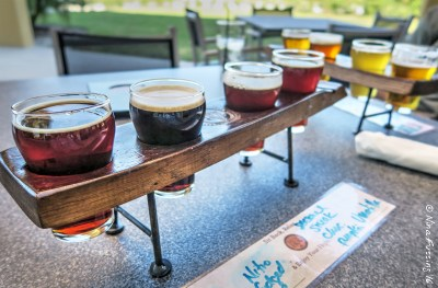 A beer flight at Brew Hub