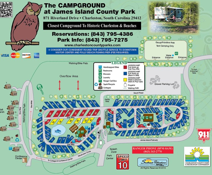 "Campground Map. Sites in yellow are electric/water only. Rest of sites are full hookup. Sites in red are ""prime"" pull-throughs."