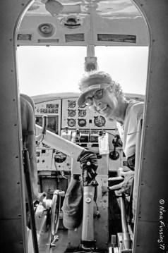 Jil in the cockpit