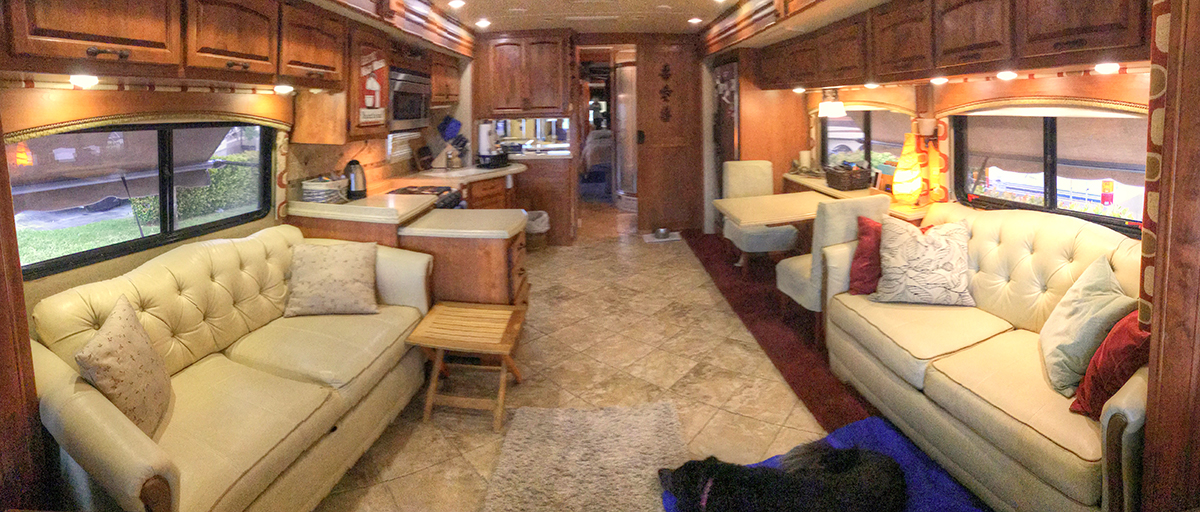 Our RV Is Spacious But Not THAT J Couch On The Left Pull Out Queen Size Guest Bed Right