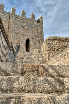 View up the castle steps