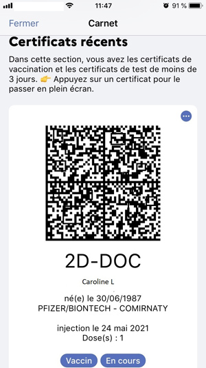 The French digital certificate (example)