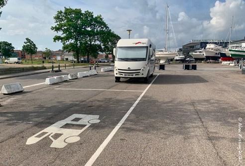 The motorhome parking sites at Helsingør Marina