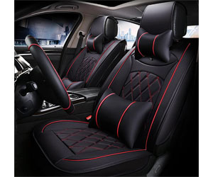 Super PDR 9pcs Universal Fit car Seat Covers Set PU Classic Leather Seat Covers for Jeep Wrangler 5 Seats Full Set Review
