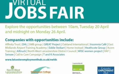 Leicester Virtual Jobs Fair – to Mon. 26th Apr.