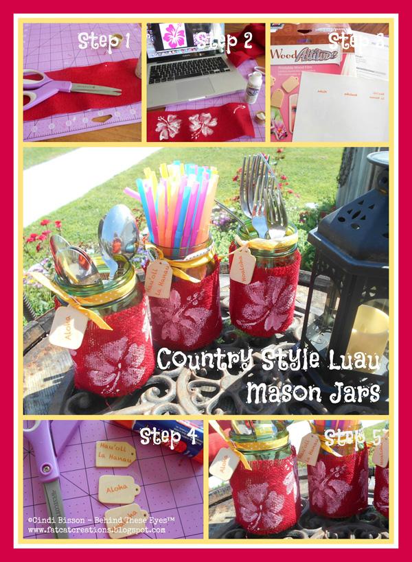 Country-Style Luau Mason Jars