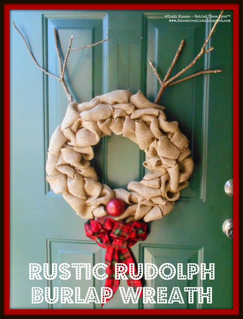 Rustic Rudolph Burlap Wreath
