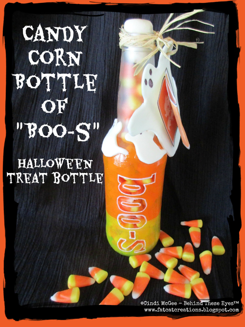 "Candy Corn Bottle of ""Boo-s"" Halloween Treat Bottle"