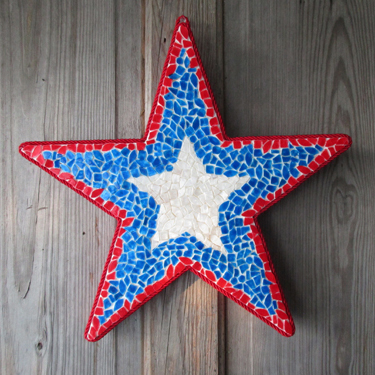 Mosaic Star Patriotic Door Decoration