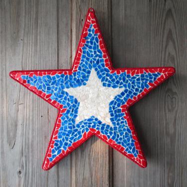 Mosaic Star Patriotic Door Decoration