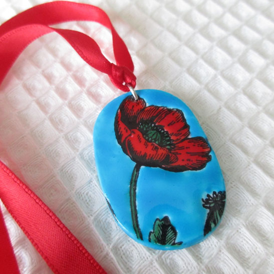 Glazed Poppy Pendant