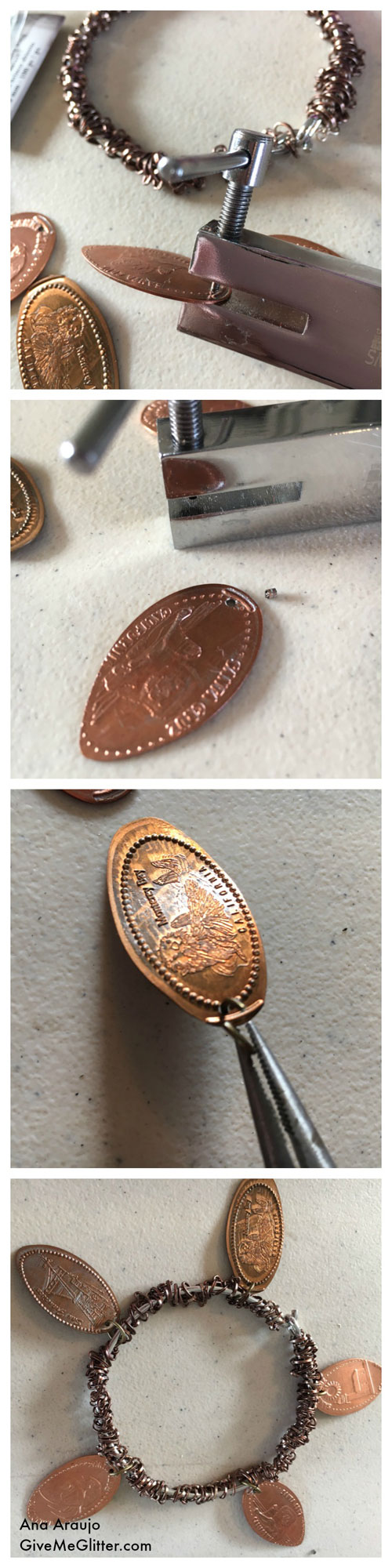 Penny Bracelet - punch hole in penny