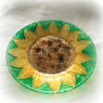 """Stained Glass"" Sunflower Lunch Plates"