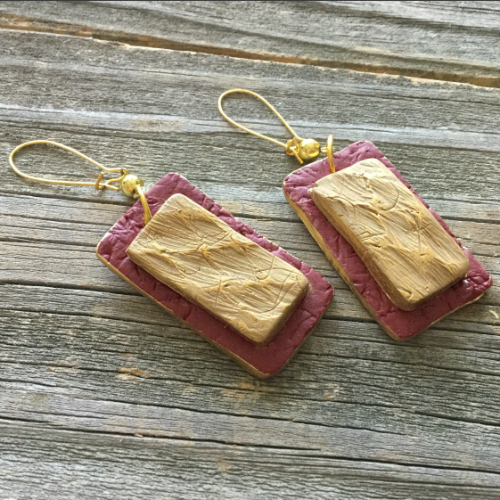 Twice Textured Rectangular Earrings