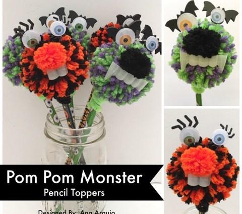 Pom Pom Monster Pencil Topper Cover