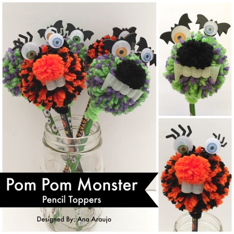 Pom Pom Monster Pencil Topper Cover