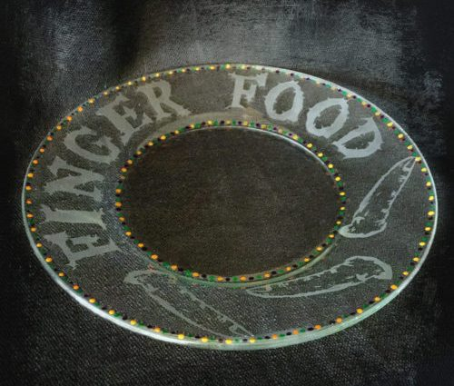 Etched Glass Finger Food Plate