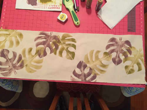 Stenciled Tropical Table Runner 5