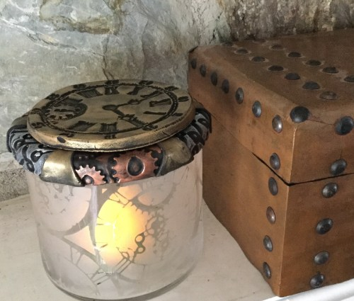 Steampunk Candle Votive or Treasure Jar
