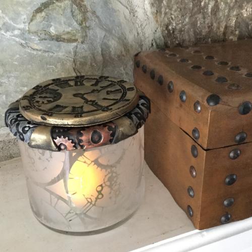 Steampunk Candle Votive or Treasure Jar