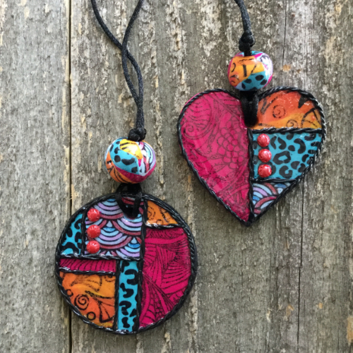 Bohemian Heart and Disc Pendants