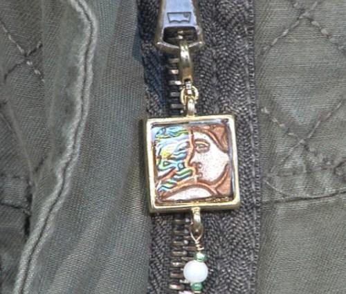 Embedded Clay Zipper Charm Pull