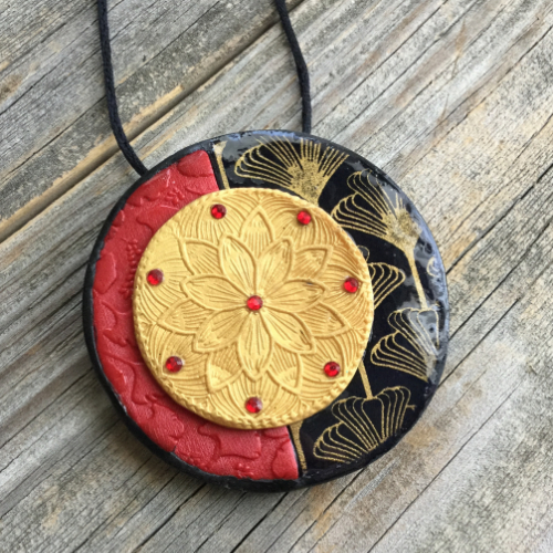 Asian Influenced Polymer Clay Pendant