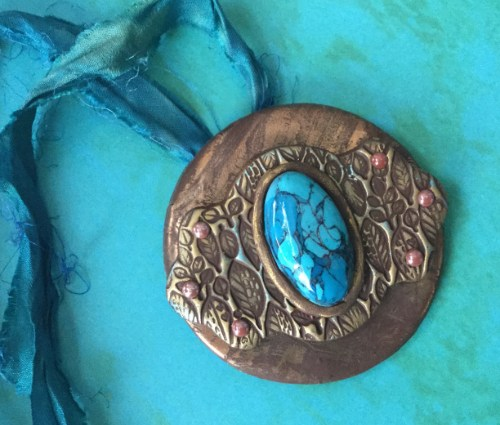 Leaves and Turquoise Pendant