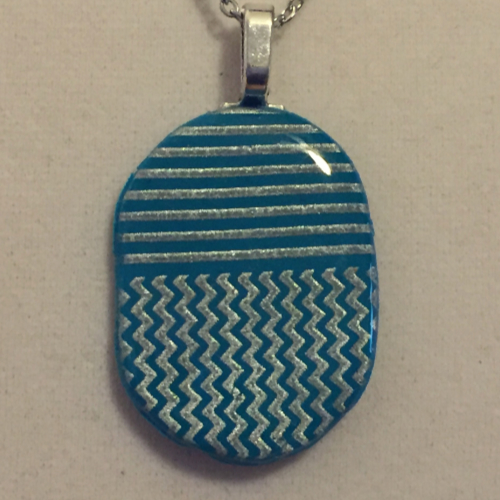 Turquoise and Silver Geometry Necklace #3