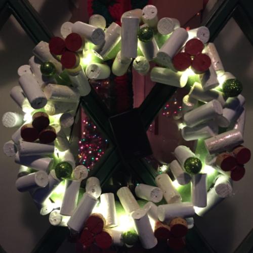 Lighted Wine Corks Wreath