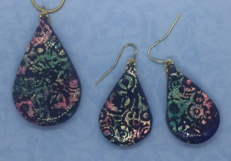 Faux Dichroic Earrings and Pendant
