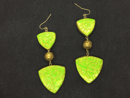 Green and Gold Fantasy Earrings