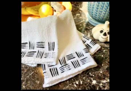 Fork Stenciled Towels