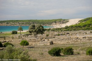 The coast of Bolonia with a giant sand dune in the background