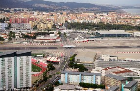 The single runway for the International airport on Gibraltar goes right across the middle of the only road in/out. When planes come or go the cars have to wait - just like at a railway crossing