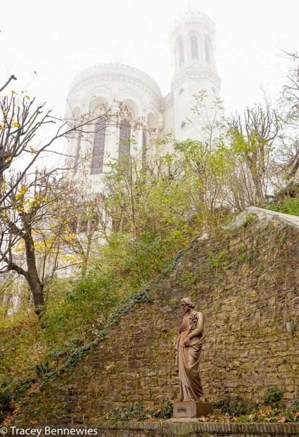 The Basilica rises through the fog