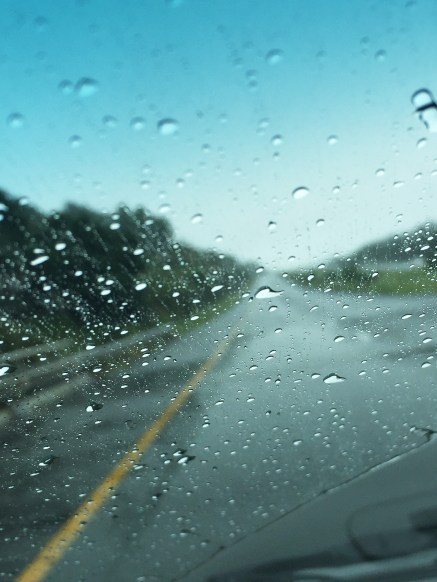 A rainy day for driving, but the scenery is still spectacular