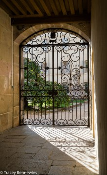 Gates to a garden inside the Hospice