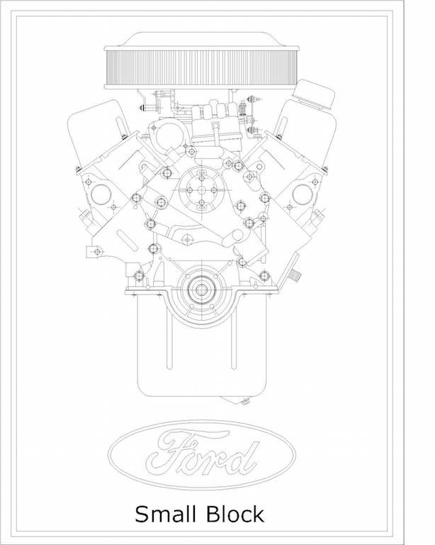 V8 Engine Technical Drawing Prints