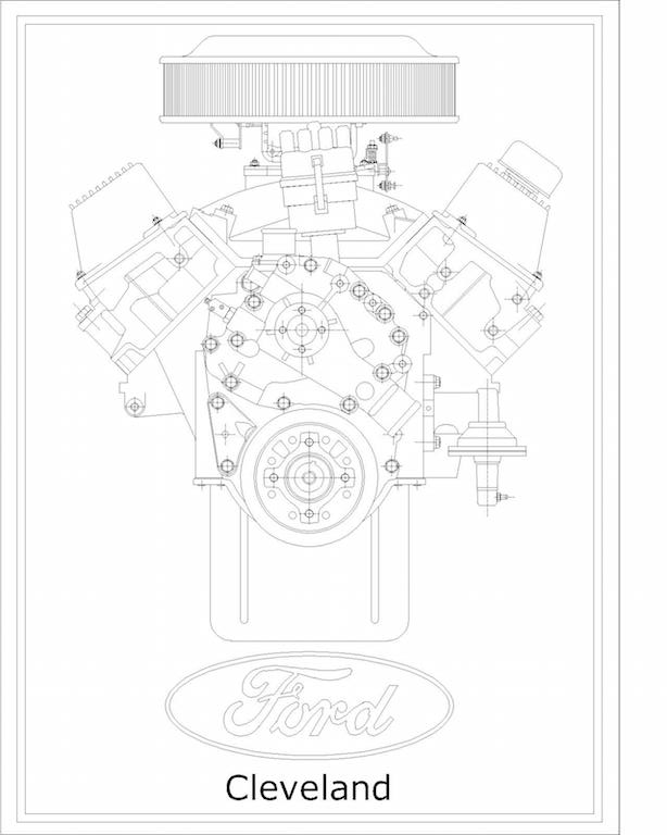 V8 Engine Technical Drawing Prints
