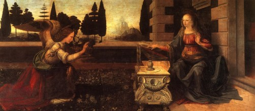 """The Annunciation"" by Leonardo Da Vinci. Picture: http://liturgialatina.blogspot.se/2011/03/25th-march-annunciation-of-blessed.html"