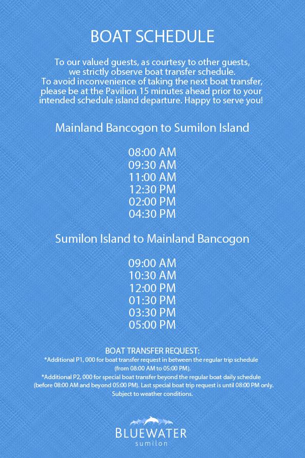 Bluewater Sumilon Island Boat Schedule