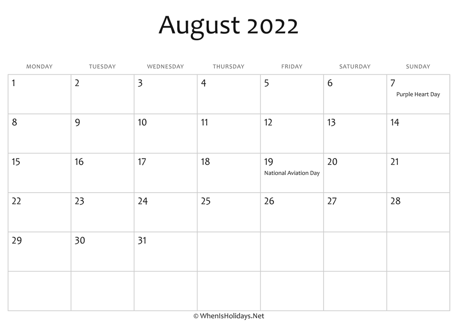 Download a free, printable calendar for 2021 to keep you organized in style. August 2022 Calendar Printable with Holidays ...