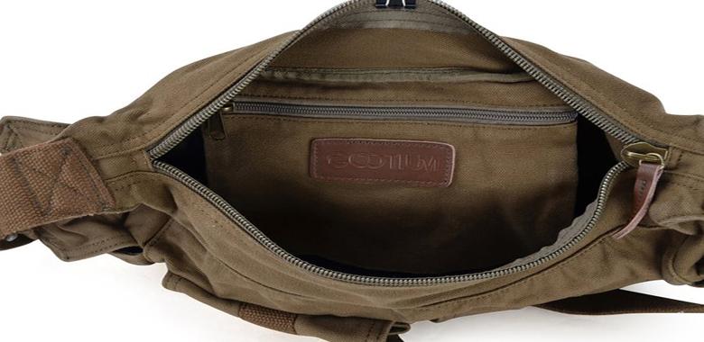 Gootium 21218 Canvas Genuine Leather Cross Body Messenger Handbag Shoulder Bag
