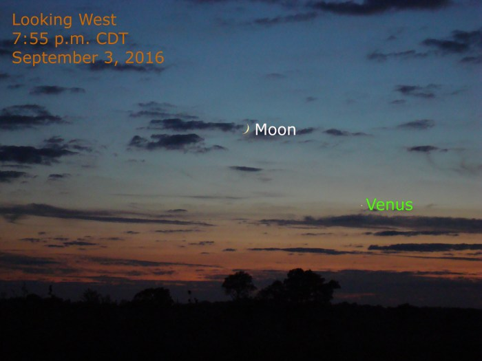 Photograph of Venus and the moon during twilight on September 3, 2016 -- the most recent evening apparition of Venus.