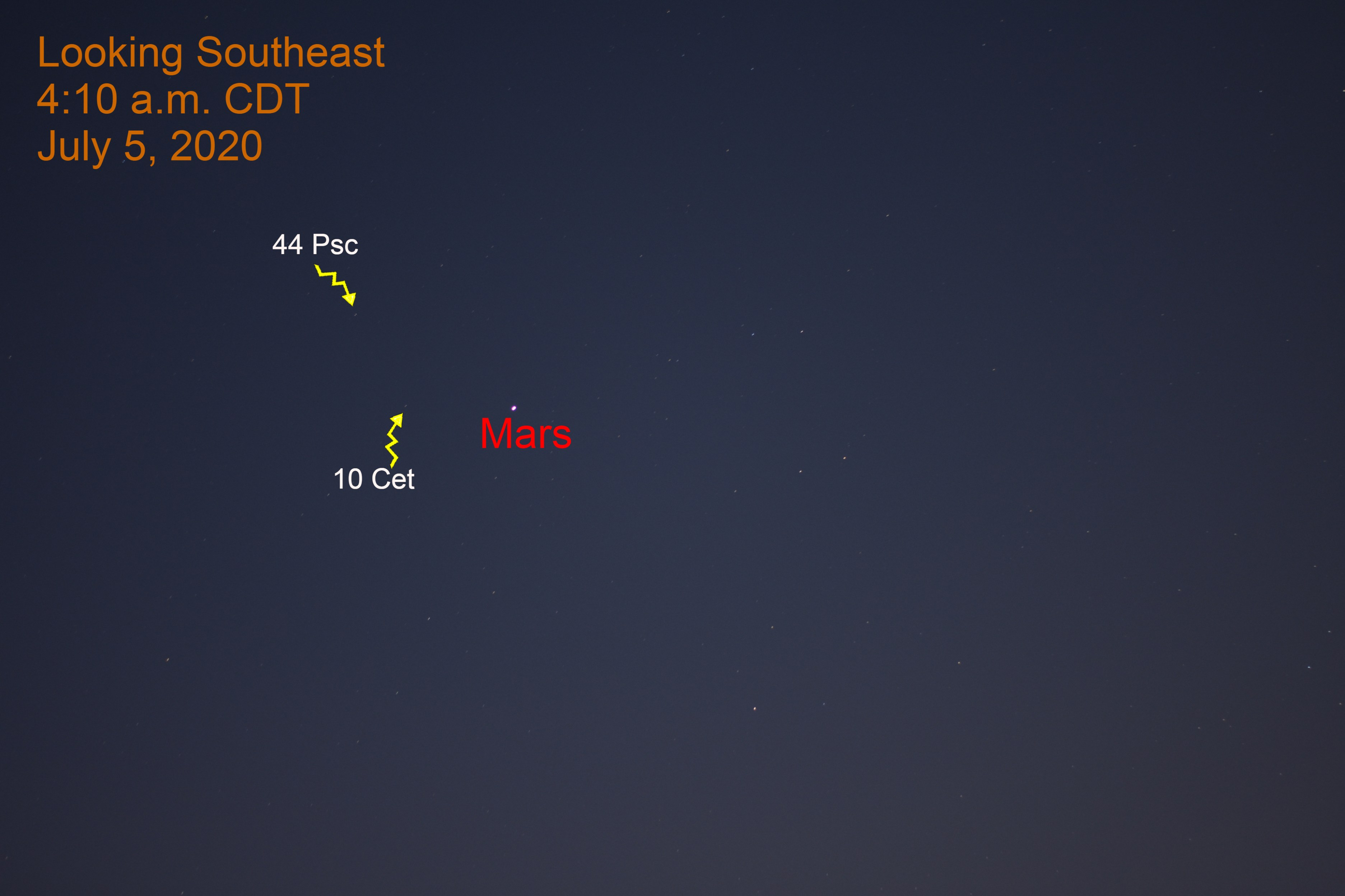 Mars is near the Pisces - Cetus border, July 5, 2020.