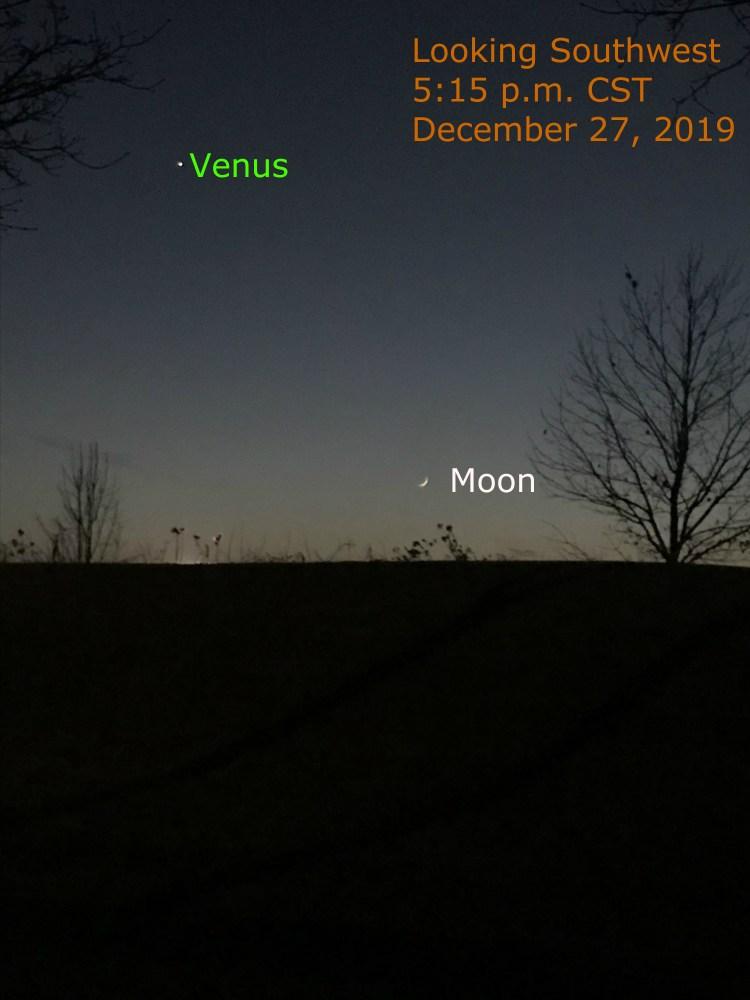 Venus and crescent Moon, December 27, 2019.
