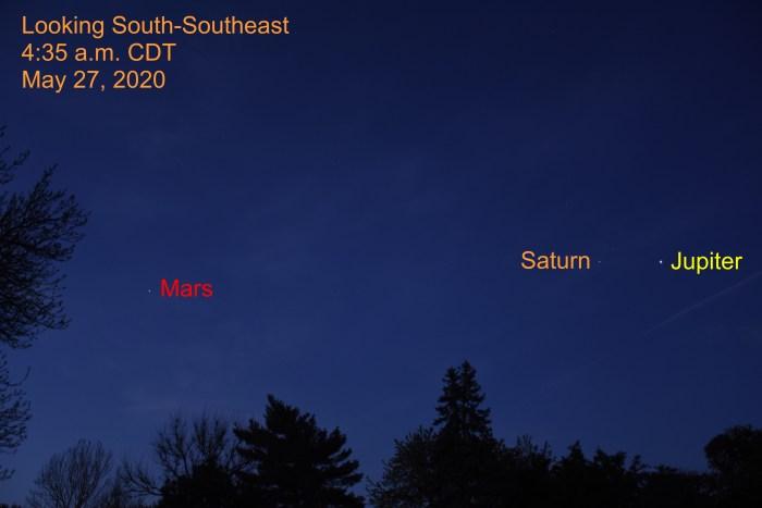 Jupiter, Saturn, and Mars, May 27, 2020