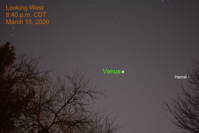 Venus in west after sunset, March 15, 2020