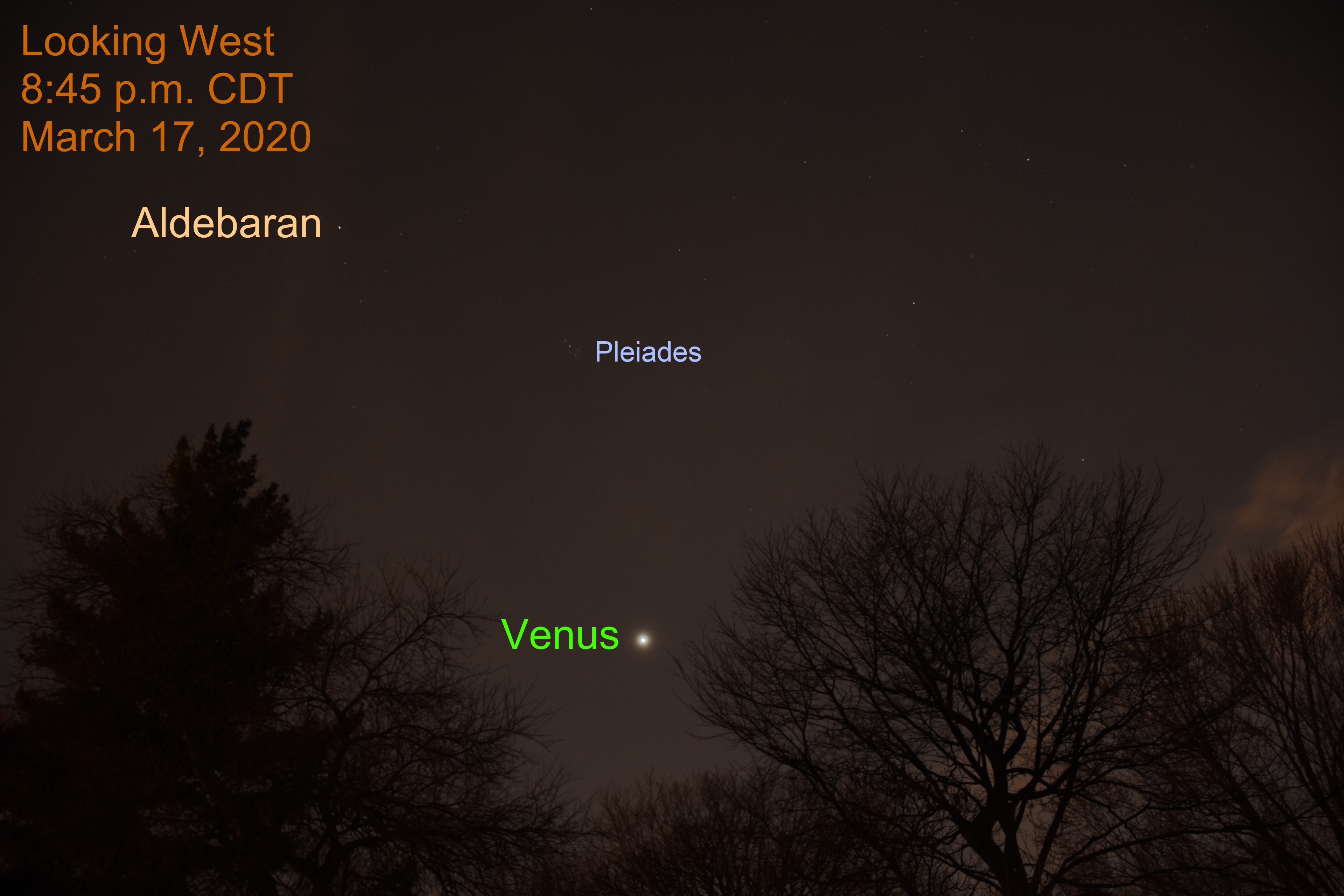 Venus and Pleiades, March 17, 2020